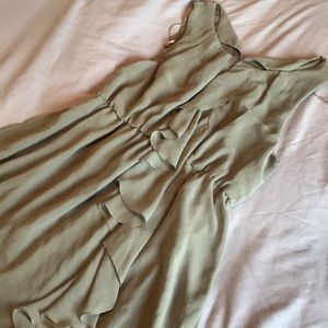 Light olive mini ruffle dress